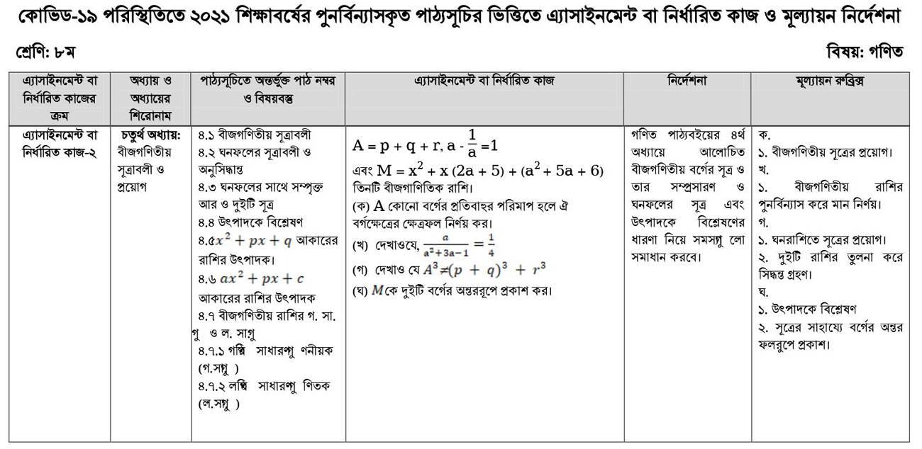 assinment_math_8_shikkha